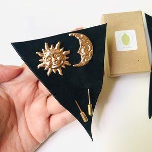 Sun & Moon Gold Brooch Clothing Stick Pin Set